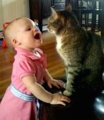 Hannah imitating cat sounds